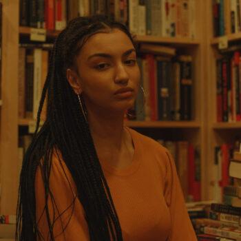 A girl in a bookstore