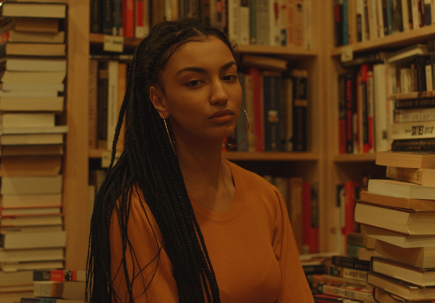 A girl in a bookstore