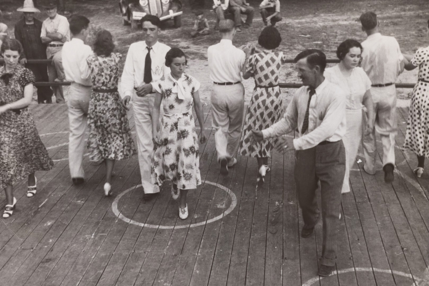 Townsfolk participating in a community dance, Alabama, 1937